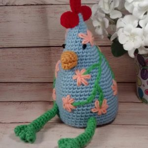 Country Chicken Decoration Blue